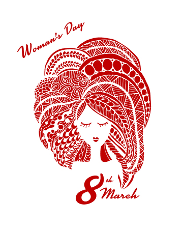 Happy Womens Day, greeting card with woman . Vector illustration
