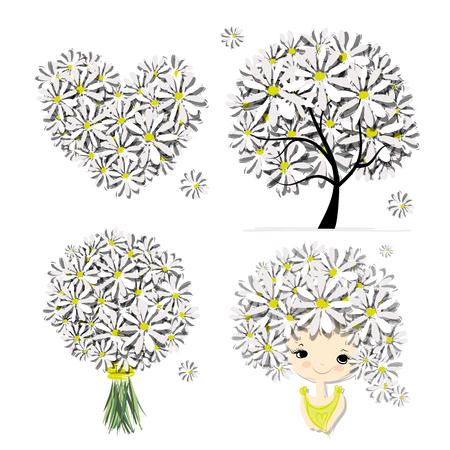 Floral set - tree, girl, heart, frame for your design. Vector illustration