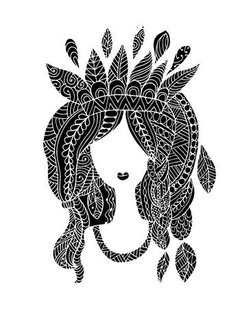 Female portrait, ethnic beauty for your design  イラスト・ベクター素材