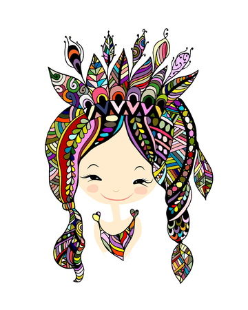 Female portrait, ethnic beauty for your design Ilustração