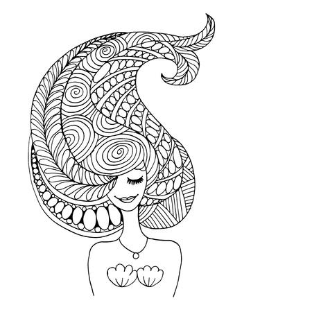 あなたのデザインのための人魚の肖像画、装飾スケッチ  イラスト・ベクター素材