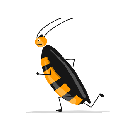 Funny cockroach for your design Vector illustration. Illustration