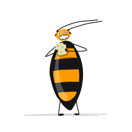 Funny cockroach for your design Vector illustration. Illustration