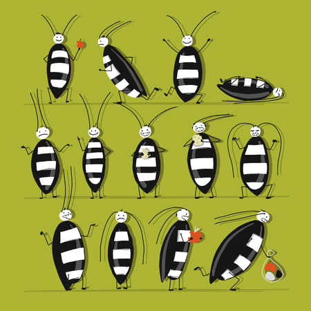 Funny cockroaches set for your design Vector illustration.