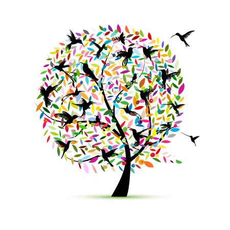 Drzewo kolibra, szkic do swojego projektu! Ilustracje wektorowe