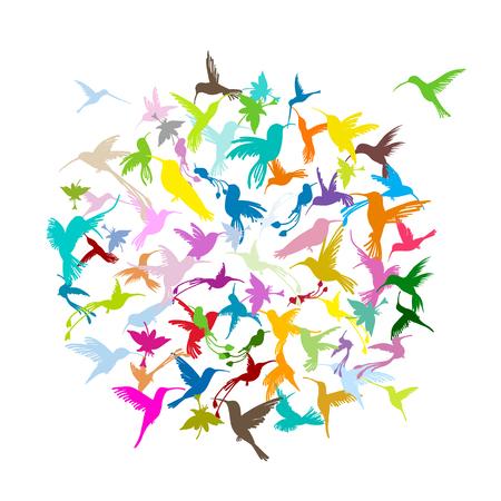 Colibri collection, sketch for your design Stock Illustratie