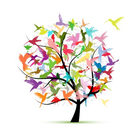 Hummingbird tree, sketch for your design