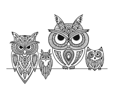 Ornate owl, zenart for your design Vectores