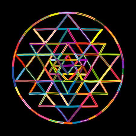 神聖な幾何学と錬金術のシンボルスリヤントラ。あなたのデザインのための手描きのスケッチ  イラスト・ベクター素材