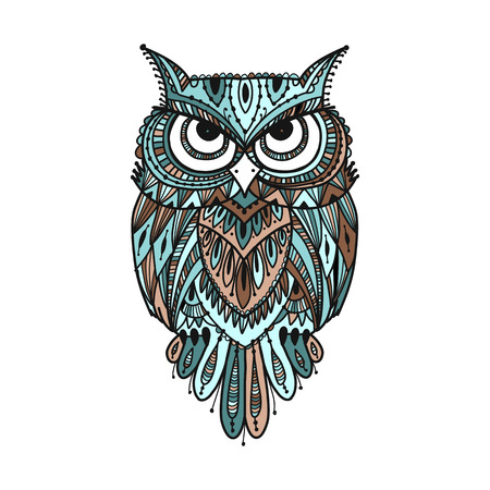 Ornate owl, zenart for your design Vectores