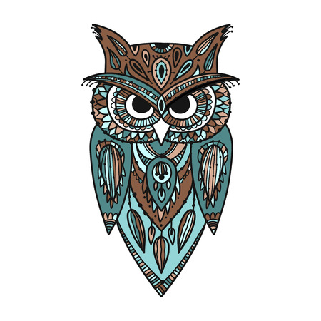 Ornate owl, zenart for your design Illusztráció