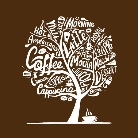 Cofee time. Art tree for your design