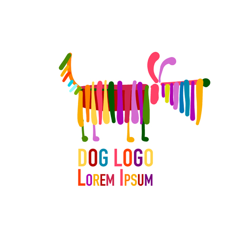 Funny dog, colorful logo for your design