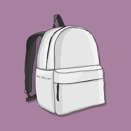 Backpack mockup, sketch for your design Ilustração