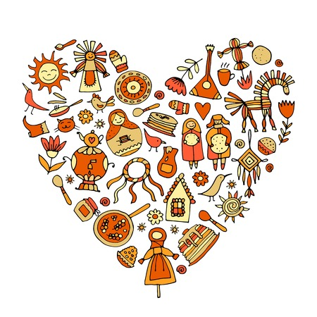 Maslenitsa or Shrovetide. Heart shape for your design Illustration