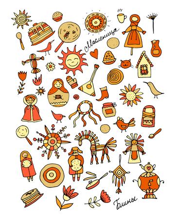 Maslenitsa or Shrovetide  Icons set on white background. Vector illustration Standard-Bild - 99219195