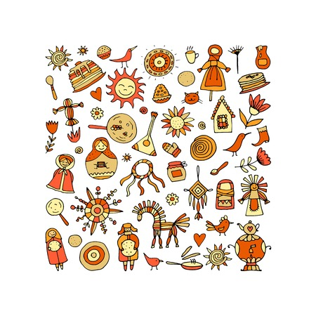 Maslenitsa or Shrovetide Icons set on white background. Vector illustration