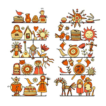 Maslenitsa or Shrovetide Icons set on white background. Vector illustration.
