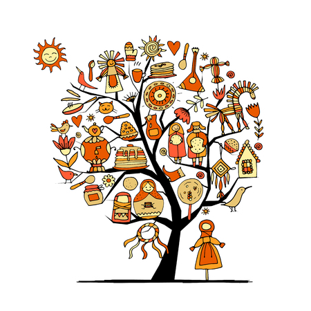 Maslenitsa or Shrovetide Art tree on white background. Vector illustration Illustration