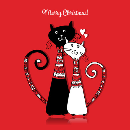 Couple of cats in cozy sweaters. Christmas card design. Vector illustration