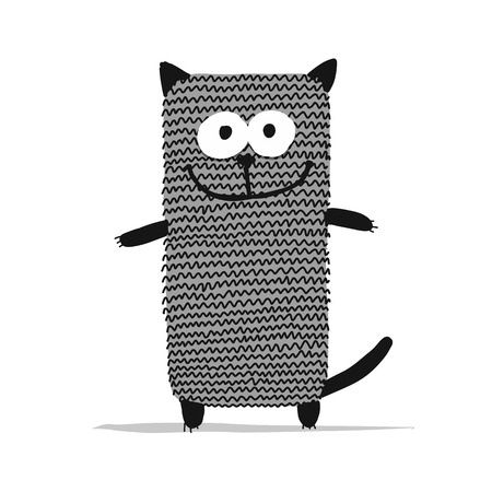 귀여운 뜨개질 고양이, 디자인을위한 스케치