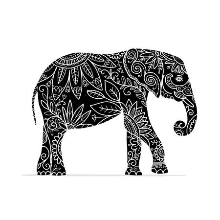 Elephant ornate, sketch for your design Foto de archivo - 99540233