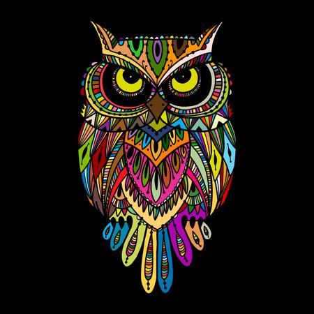 Ornate owl, zenart for your design Illustration