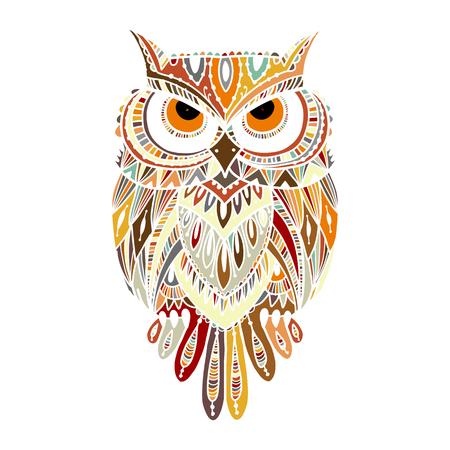 Ornate owl, zenart for your design 向量圖像