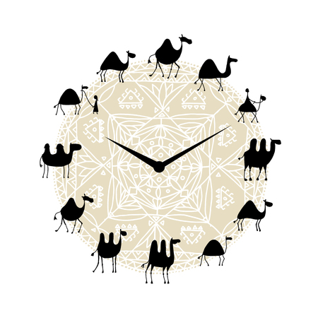 Clock with camels silhouette design. Vector illustration 일러스트