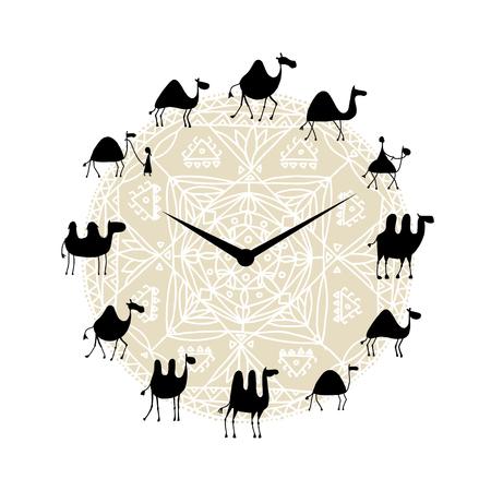 Clock with camels silhouette design. Vector illustration Illustration