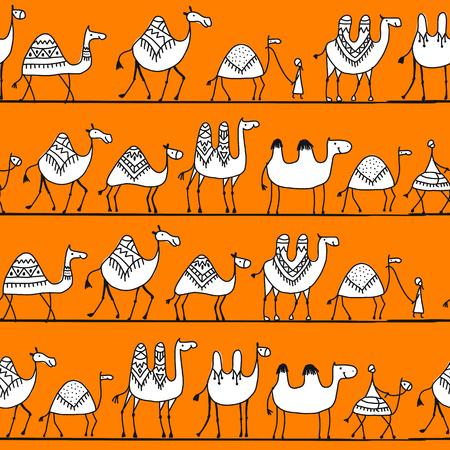 Caravana de camellos, patrones sin fisuras para su diseño. Ilustración vectorial Foto de archivo - 99559774