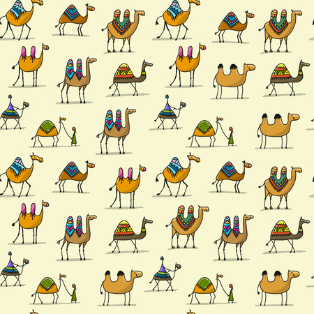 Camels caravan, seamless pattern for your design. Vector illustration 스톡 콘텐츠 - 99559813