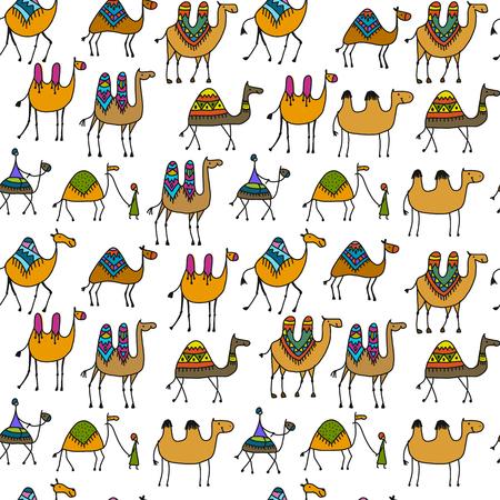 Camels caravan, seamless pattern for your design. Vector illustration