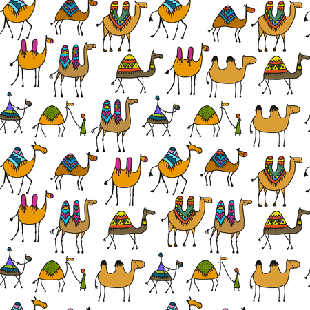 Camels caravan, seamless pattern for your design. Vector illustration