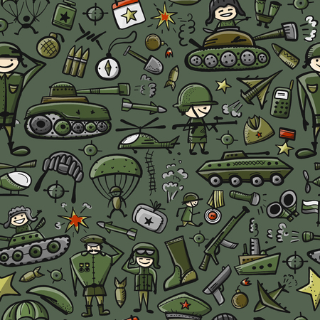 Military elements icons sketch seamless pattern on green background. Vector illustration.