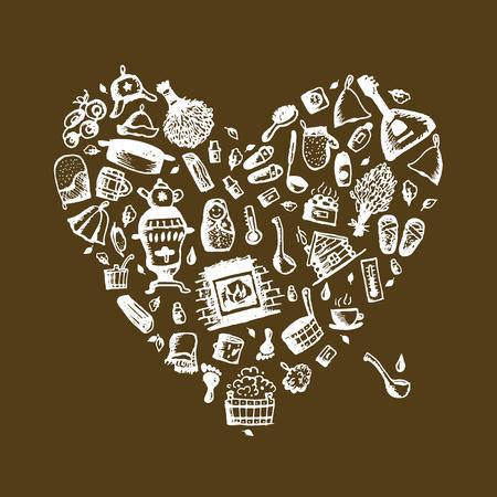 Russian sauna, heart shape for your design. Vector illustration Иллюстрация
