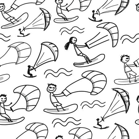 Kiteboarding, seamless pattern for your design. Vector illustration Illustration