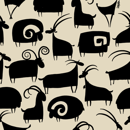 Goats and rams seamless pattern design.