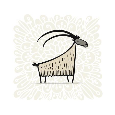 Funny goat, simple sketch for your design. Vector illustration Illustration