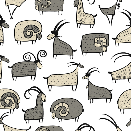 Goats and rams, seamless pattern for your design. Vector illustration Illustration
