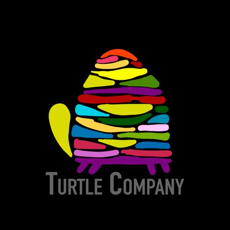 Turtle colorful logo, black silhouette for your design. Vector illustration
