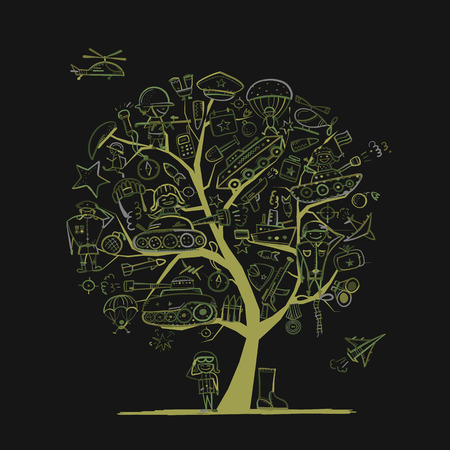 Military tree, sketch for your design. Gift card for men. Vector illustration art