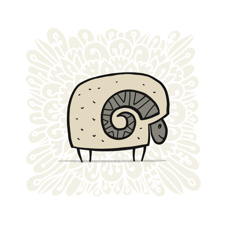 Cute ram, simple sketch for your design. Vector illustration