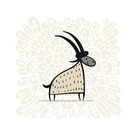 Funny goat, simple sketch for your design. Vector illustration Stock Vector - 99582944