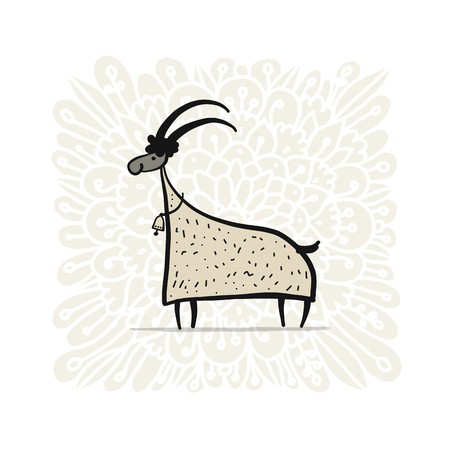 Funny goat simple sketch design Illustration