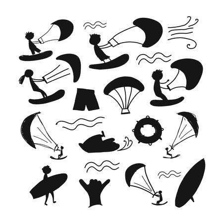Kiteboarding elements on white background. Vector illustration.