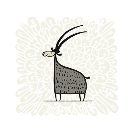 Funny goat, simple sketch for your design Vector illustration. Illustration