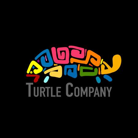 Turtle colorful logo, black silhouette for your design Vector illustration.