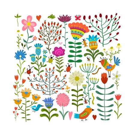 Floral meadow, sketch for your design. Vector illustration