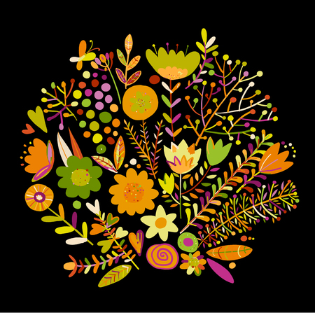 Floral frame, sketch for your design. Vector illustration